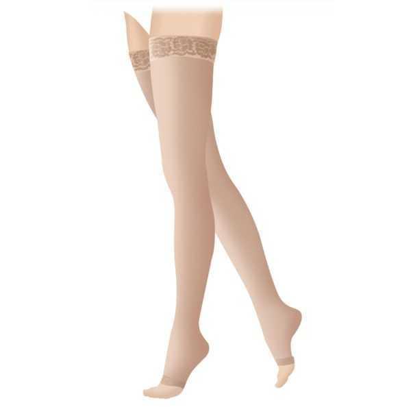 Чулки компрессионные 2 класс Открытый носок «LUOMMA IDEALISTA» Карамель ID-310